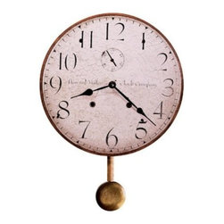 Howard Miller Original Howard Miller II Wall Clock - 13 in. Wide - This beautifully produced 13 inch diameter antique dial is carefully mounted on a laser cut 1/4 inch thick panel base featuring antique black hands and a quart movement. Includes 5 inch antiqued pendulum. Quartz battery operated movement. (Batteries not included).About Howard MillerBeginning in the 1920's Howard Miller clocks have impressed all who see them with superior quality and design. Howard Miller wall floor and mantel clocks are crafted to last for generations and to perfectly accent your home.The company's founder Howard C. Miller began manufacturing wall and mantel clocks in Michigan. Evolving to encompass cabinet making and other furniture design - all renowned for quality and style - the Howard Miller company proudly stands behind its reputation as the World's Largest Clock Manufacturer.