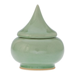 Kouboo - Authentic Celadon Pagoda Jar - This bowl is inspired in its shape by the pagoda of a Buddhist temple. The graceful curves will make it stand out amongst all the candy jars imaginable. If you wish to add the feel of a spa to your bathroom fill it with bath salt instead. It will make you dream of a distant and exotic place.