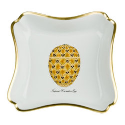 IMPERIAL COURT, INC. - Czarina Square Bowl Coronation Egg - This wonderful square bowl is produced of finest quality porcelain with 24K gold painting in Limoges, France. Shown decorated with Coronation Egg. Other Egg designs are also available. Size: 7 x 7 inches.