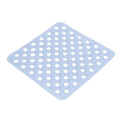Shower Mat with Holes PVC White - This shower mat with holes is in PVC and is mildew-resistant. Designed to look and feel comfortable with its holes, it inhibits the growth of stain and odor-causing mold and mildew on the tub mat. This square bath mat features skid-resistant suction cups that should be applied to smooth surfaces only for optimal safety. This beautiful bath rug brings an edgy style to your shower while providing a safe bath surface. Machine wash cold and no dryer. Length 20-Inch and width 20-Inch. Color white. This fashionable shower mat adds a stylish element to your bathroom! Complete your bath decoration with other products of the same collection. Imported.