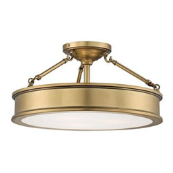 Harbour Point 19-inch-wide Liberty Gold Ceiling Light - This is a brass ceiling light that would look just as good in a bedroom as it would in a living room. The semi-flush mount makes it ideal for standard-height ceilings, yet the classic design wouldn't get lost on higher ceilings. If you're renting, you can even take it with you when you leave.