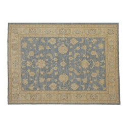 100% Wool Area Rug, 5'x6' Vegetable Dyes Hand Knotted Ziegler Mahal Rug SH8252 - Hand Knotted Oushak & Peshawar Rugs are highly demanded by interior designers.  They are known for their soft & subtle appearance.  They are composed of 100% hand spun wool as well as natural & vegetable dyes. The whole color concept of these rugs is earth tones.