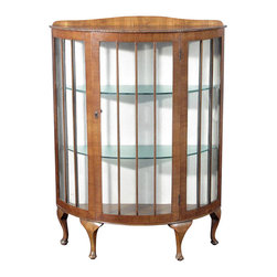Antique Queen Anne Walnut English Curio Display Cabinet - Origin: England