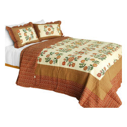 Blancho Bedding - [I Believe]Cotton 3PC Vermicelli-Quilted Floral Patchwork Quilt Set (Full/Queen) - Set includes a quilt and two quilted shams (one in twin set). Shell and fill are 100% cotton. For convenience, all bedding components are machine washable on cold in the gentle cycle and can be dried on low heat and will last you years. Intricate vermicelli quilting provides a rich surface texture. This vermicelli-quilted quilt set will refresh your bedroom decor instantly, create a cozy and inviting atmosphere and is sure to transform the look of your bedroom or guest room. Dimensions: Full/Queen quilt: 90 inches x 98 inches  Standard sham: 20 inches x 26 inches.