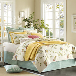 Hampton Hill - Hampton Hill Rosecliffe Duvet Style Comforter Set - Your bedroom will always feel like Spring with the Rosecliffe collection. The duvet style comforter features a floral chainstitch pattern all over the cotton twill comforter and sham. The duvet style comforter comes in filled, but has a duvet opening, so you can easily clean and care for the top of the bed. The Euro features a subtle geometric jacquard pattern with a clean white ribbon detail. The adjustable bedskirt also coordinates with the geometric pattern from the Euro. Three decorative pillows are included to finish this look. Comforter and sham face: 180T 100% cotton twill w/ chain stitch; comforter and sham back: 140T 100% cotton plain; Comforter filling: 100% polyester. Bedskirt drop: 100% polyester jacquard; Euro Sham face and back: 100% polyester jaquard. Pillow 1 cover: 100% cotton slub with pleats; filling: 100% polyester. Pillow 2 cover: 100% polyester jaquared with chain stitch on face; filling: 100% polyester. Pillow 3 cover: 180T 100% cotton twill with embroide