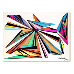 "The Oliver Gal Artist Co. - 'Architecta' 24""x16"" Canvas Art - This vibrant piece by Manuel Roman is the perfect pop of color for any modern home. Geometric prisms showcase a bold study in shape and color. The hand-stretched canvas will arrive at your door with a letter of authenticity and all the necessary hardware for hanging. You just need to find the perfect wall."
