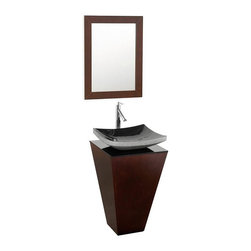 Wyndham Collection - Pedestal Vanity Set - Includes one bathroom vanity, smoke glass counter, one black granite sink and matching mirror. Faucets not included. 8 stage painting and coloring process. Floor standing vanity. Smoke glass top. Contemporary and unique design. Single hole faucet mount. No external hardware. No drawers or doors. Made from wood and MDF. Espresso, gray and black color. Care Instruction. Vanity: 20.125 in. W x 20 in. D x 36 in. H. Mirror: 20 in. W x 30 in. H