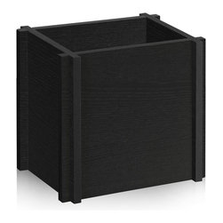 Way Basics - Paper Bag Holder, Black - Unique recycling enclosure made from zBoard! An interlocking design gives a contemporary feel for those plain recycling paper bags. Recycling never looked so good.
