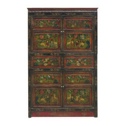 Golden Lotus - Big Tibetan Antique Flower Hand Paint Carving Armoire Storage Cabinet - This is a Tibetan antique armoire which is made of solid elm wood.  The front of the cabinet has very detail flower painting on it.  You can use as armoire or storage cabinet.