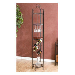 Holly & Martin - Holly & Martin Petaluma Wine Rotunda - Holds 8 bottles of wine. Durable metal construction. Made of Metal, MDF w Veneer Counter. Some assembly required. Bottom Shelf - 11. 5 in. x 11. 5 in. x 13 in. Tall. Counter Shelf - 11. 5 in. x 11. 5 in. x 13 in. Tall. Second shelf down - 11. 5 in. x 11. 5 in. x 10 in. Tall. Top Shelf - 11. 5 in. x 11. 5 in. x 6 in. Tall. Overall: 13 in. W x 13 in. D x 65 in. HElegant and beautiful, this wine rotunda will help with storage, display and organization all in one. With storage for 8 wine bottles, a set of glasses and whatever else your desire this exquisite round wine tower is sure to impress. The two upper and one bottom shelves are metal grate while the counter is a wooden tabletop perfect for serving. Kitchen, dining room or breakfast nook, this beautiful piece is sure to be a wonderful addition to your home.