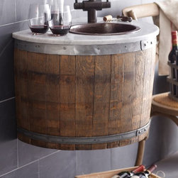 Bordeaux Wall Mount - The charming Bordeaux Wall Mount is made from oak barrels that have outlived their original five year lifespan, repurposed for use as a bath vanity or wetbar. The barrel is disassembled and modified, then finished with multiple custom-blended waxes which are hand-rubbed into the oak. Plumbing is accessible from the underside.