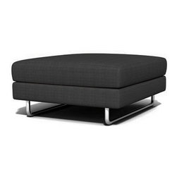 TrueModern - TrueModern Hamlin Calvin Charcoal Ottoman - Features: Calvin Charcoal finish / Textured, 100% polyester fabric / Medium density cushion / Classic baseball stitching / Brushed nickel, steel tube legs.