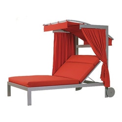 Linear Double Chaise Lounge with Wheels and Canopy