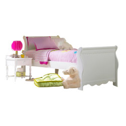 Hillsdale Furniture - Hillsdale Lauren 4-Piece Youth Sleigh Bedroom Set in White - Full - The whimsical yet traditional styling of the Lauren sleigh bedroom group makes it a delightfully timeless addition to any young girl�s room. The white finish coordinates with any decor you might choose and the scalloped design carries through each-Piece. The drawers have French dovetail drawer fronts, English dovetail drawer backs and wood on wood drawer glides.