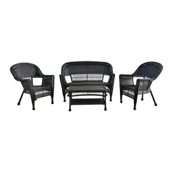 "Jeco - 4pc Black Wicker Conversation Set - No Cushions - ""Simple and stylish are the perfect words for this set."