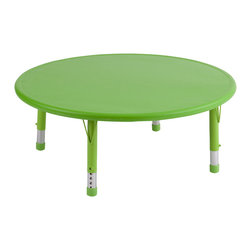 "Ecr4kids - Ecr4Kids Kids Playroom Classroom 45"" Round Resin Table Green - Tabletop made of fade-resistant Polyethylene that will not crack, chip or peel. reinforced steel frame. Legs adjust in 1"" increments from 13.25"" to 22.25"". Choose from one of our Soft Tone Colors.Easy to clean surface, use a damp cloth or sponge using warm water & mild soap. Wipe dry. Use only a non-abrasive general purpose cleanser. Abrasive or alcohol based cleansers will mark/stain the table surface. Style Notes: Cornflower Blue (BL)"
