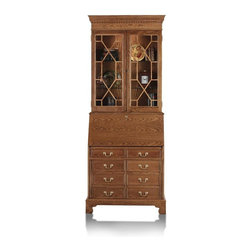Jasper Cabinets - Traditions Computer Secretary Desk with Hutch - Finish: AncestorLooking to add impressive storage and a stylish presence to your favorite room? This computer secretary desk & hutch gives you dependable performance with customized style options. 2 glass doors have geometric panel designs, while lower cabinet conceals your computer and much more. Choose finish. Signature drop lid slide mechanism and lid lock. Pigeon holes and additional storage behind drop lid. Four solid wood drawers with interlocking drawer runner. Adjustable floor levelers. Interior light in upper section. Two adjustable glass shelves with plate grooves. Made from Oak solids and Oak veneers. Assembly required. 36 in. W x 20 in. L x 89 in. H (250 lbs.)I'm sure you've all seen the magnificent secretary that graces the homes of friends and families. Some have been handed down through generations, some are new, but still are rich with history. With it's many features this beautiful Secretary is a must for your home. Finished in a Chesapeake is what makes this a magnificent piece you can't walk away from.