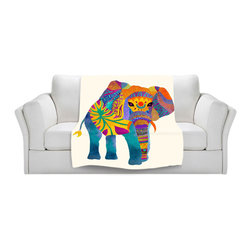 DiaNoche Designs - Throw Blanket Fleece - Pom Graphic Design Whimsical Elephant I - Original Artwork printed to an ultra soft fleece Blanket for a unique look and feel of your living room couch or bedroom space.  DiaNoche Designs uses images from artists all over the world to create Illuminated art, Canvas Art, Sheets, Pillows, Duvets, Blankets and many other items that you can print to.  Every purchase supports an artist!