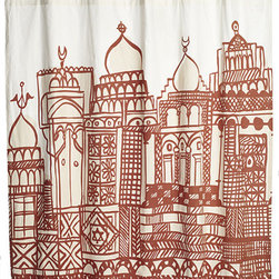 John Robshaw Dangi Fort Shower Curtain - 'm not sure anyone out there is better than John Robshaw at curating exotic textiles and bringing them to the masses. This lovely cotton printed shower curtain will bring minarets from afar to your bathroom, setting the tone for some fun and exotic decor.