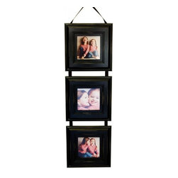 MyBarnwoodFrames - Triple Frame Set, Black, Three 5x5 Frames with Hanging Ribbon - Three frame set with 5x5 photo openings on hanging ribbon, black painted. These hardwood frames feature a decorative molding with lightly distressed edges. Each accommodates one 5x5 inch photo and all three hang vertically from a decorative hanging ribbon. Just drape the ribbon over a decorative hook, an ornamental curtain tie back, or other unique display hook. You can order this fun frame in any of several colors. Frame comes with a black ribbon, but you may specify white or ivory ribbon or a hanging rope instead.
