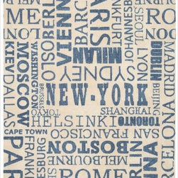 Waverly - Waverly 'Sun & Shade' Distressed Blue Cities Rug (7'9 x 10'10) - Lay down this eye-catching Waverly rug if you want guests to think you are well-traveled. The soft polyester pile features the names of dozens of the biggest cities across the globe. A blue and beige color scheme keeps this rug quite modern.