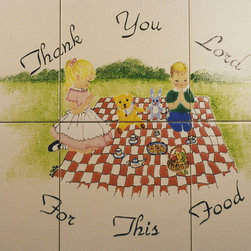"""Daycare Family - Hand painted ceramic tile mural. Painted on 6 inch tiles, and measures 12"""" x 18"""". It was installed as a backsplash in a loving home. There are 7 other deco tiles placed all around the kitchen walls to keep with the child caring theme."""