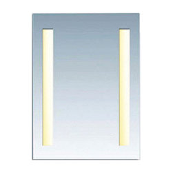 Twin Slim mirror by Edge Lighting - Twin Slim surface mounted rectangular mirror features vertical integral fluorescent lamps set behind frosted panels, projecting an even glow of light. Dimmable with 0-10V dimmer, 120V-277VAC range input. ADA compliant.