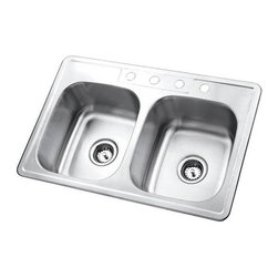Kingston Brass - Double Bowl Self-Rimming Kitchen Sink - The double bowl self-rimming kitchen sink features two Large symmetrical basins, pre-drilled in a four hole configuration. The wide space and depth of the two basins allows ample space for washing and draining your pots and pans and makes washing pots and pans and preparing food an easy task. The kitchen sink is made of high quality stainless steel and is fully protected by a heavy-duty sound deadening pad to minimize noise while washing your dishes in the sink. Available in a variety of finishes for improving your decor.