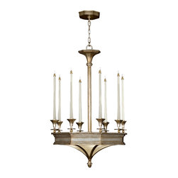 Fine Art Lamps - Candlelight 21st Century Gold Chandelier, 805640ST - Chandelier in warm, gold-toned silver leaf finish accented with solid brass fittings. Hand--blown tapered glass candles with fully dimmable halogen bulbs and matching art glass panels. Also available in silver leaf finish.
