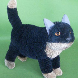 Brushart - Cat Black Standing 16 inch - Brush Art animals are hand made from the most super-abundant and self-regenerating of natural materials: leaves, leaf fibers, seeds, and seed pods, held together with wire and glue. Most important to a Brush Art animal is the buri sugar palm.