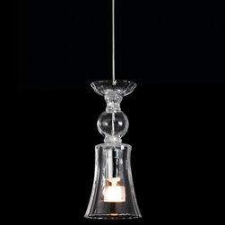 Bover - Twins 01 Mini Pendant by Bover - The ephemeral delicacy of blown glass is captured in the Bover Twins 01 Mini Pendant. Like an inverted goblet, the hand-blown artisanal crystal has a shapely silhouette, its charming shape an attractive outline for the exposed bulb and decorative suspension cord inside. With a mini pendant of this elegant beauty and diminutive size, two (or more) is better than one. The Bover collection, made in Barcelona, is inspired by the light playing within the sky and sea. Balancing quality and form resulting in a non-temporal style capable of adapting comfortably to future times. Bover's products range from ceiling lights, pendants, and wall sconces to floor and table lamps.
