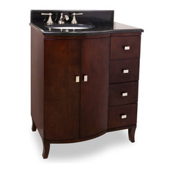 "Hardware Resources - 30"" Wide Solid Wood Vanity  VAN067-T - This 30"" wide solid wood vanity features a rich mahogany finish and polished nickel hardware. The clean lines, cabriole feel and elegant bow front shape add understated elegance. A large cabinet and offset bank of fully functional drawers, equipped with full extension softclose slides, provide ample storage.  This vanity has a 2.5CM black granite top preassembled with an H8809 (15"" x 12"") bowl, cut for 8"" faucet spread, and corresponding 2CM x 4"" tall backsplash.  Overall Measurements: 30"" x 23"" x 36"" (measurements taken from the widest point) Finish: Mahogany Material: Wood Style: Transitional Coordinating Mirror(s): MIR067, MIR067-D Bowl: H8809WH"