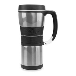 Ignite Usa, Llc - Vacuum Insulated 16-Ounce Stainless Steel Mug with Carabineer Clip - Vacuum insulated stainless steel travel mug keeps beverages hot up to four hours and cold beverages cold up to 12 hours. Integrated Carabineer clip attaches to bags, purses and gear, and there's a comfortable textured grip on handle and body.