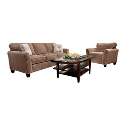 Broyhill - Broyhill Maddie 2 Piece Microfiber Mocha Sofa and Chair Set with Affinity Wood F - Broyhill - Sofa Sets - 65173Q65170QSet