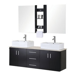 """Design Element - Portland 61"""" Double Sink - Wall Mount Vanity Set in Espresso - The Portland 61"""" double-sink vanity is elegantly constructed of quality woods. The ceramic sinks and cream marble countertop bring a contemporary and elegant look to any bathroom. Seated at the base of the stylish square sinks are chrome finish pop-up drains designed for easy one-touch draining. Two large mirrors with joining shelves are included. The vanity features two soft-closing double-door cabinets and three drawers all adorned with satin nickel hardware."""