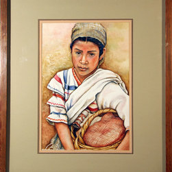 Gayle, Portrait of a Woman with Basket, Watercolor Painting - Artist:  Gayle