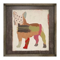 Kathy Kuo Home - French Bulldog 'Frenchie' Hand Painted Vintage Wood Wall Art - Large - Primitive folk art meets abstract expressionism in this sweet print. A charming bulldog is constructed of lines, dots and colorful swooshes and swatches. Bring it home for the dog lover — or art lover — in your life.
