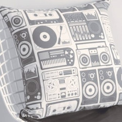 Aimee Wilder Pillows - Analog Nights Steel Grey and Charcoal, Fiber Insert - This fun pillow will fill you with nostalgia for the simpler times when a bulky boom box and a turntable hooked up to some huge speakers were your main source of music. Who could have imagined today's tiny Shuffles and iPods back then?