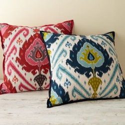 Garnet Hill - Garnet Hill Palazza Ikat Pillow Cover - Our spirited collection of textured pillow covers transforms your bed with its varying sizes and elegant ikat patterns - they're especially lovely layered together. Hidden zipper closure. Made in USA.