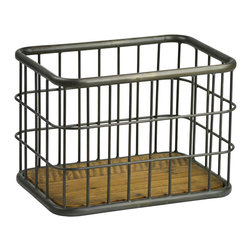 Habitat Home & Garden - Metal and Wood Basket - The Metal and Wood Basket is a functional, industrial piece that can be used for storage. Put your magazines, DVDs or books in it to make a statement out of the mundane.