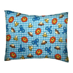 SheetWorld - SheetWorld Twin Pillow Case - Flannel Pillow Case - Safari Animals Blue Check - Twin pillow shams. Made of an all cotton flannel fabric. Side opening. Features the cutest safari animals blue check.