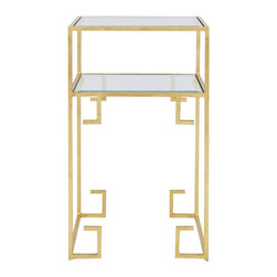 Worlds Away - Worlds Away Two Tiered Square Table in Gold Leaf CLARE G - Greek key two tiered square table in gold leaf with glass shelves.