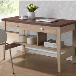Baxton Studio - Baxton Studio Fillmore Sonoma Oak Finishing Modern Writing Desk - No need to confine your desk to the home office with our Fillmore Writing Desk. With its inviting,contemporary design,you'll feel comfortable placing it in a hallway or other community area.
