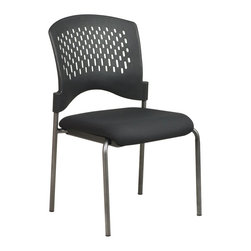 Office Star - Armless Visitors Chair with Plastic Wrap Arou - Fabric: Black in Icon PatternBasic styling with a contemporary touch.  Armless visitor's chair features a perforated back that gently wraps for support.  Titanium finish frame is lightweight, yet durable for placement in any office.  Upholstered seat is stain resistant and lightly padded for comfort.  Bring stunning good looks to any Office décor. * Titanium Finish. Plastic Wrap Around Back. 34 in. H x 20.5 in. W x 23 in. D