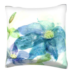 Custom Photo Factory - Blue Lotus Flower Pillow.  Polyester Velour Throw Pillow - Blue Lotus Flower Pillow. 18 Inches x 18  Inches.  Made in Los Angeles, CA, Set includes: One (1) pillow. Pattern: Full color dye sublimation art print. Cover closure: Concealed zipper. Cover materials: 100-percent polyester velour. Fill materials: Non-allergenic 100-percent polyester. Pillow shape: Square. Dimensions: 18.45 inches wide x 18.45 inches long. Care instructions: Machine washable