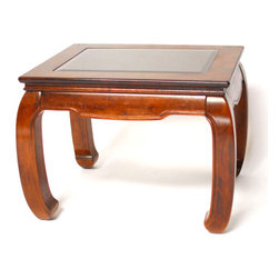 Ming Style Chow Foot Side Table - Asian side table with beveled glass feature. Beautiful rich wood finish with chow feet and carved accents. Very good condition given age and use. Circa 1970. Minor losses.