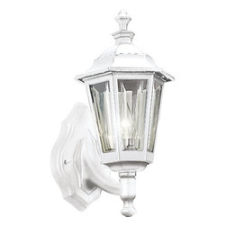 Progress Lighting - Progress Lighting P5826-30 Cast Lantern Series Single-Light Cast Aluminum White - Classic and durable, this one light outdoor wall sconce is the perfect addition for those who need rugged durability without sacrificing style. Featuring a cast aluminum construction, a sweeping and slender support arm holds a lantern with a scalloped edged roof and shatter resistant clear acrylic beveled panels. The fixture covers a standard outlet box and is strong and sturdy enough to stand up to the elements.Features: