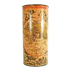Atlas Umbrella Stand - French antique atlas umbrella stand depicting a 17th century atlas in French and Latin.