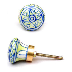 "Knobco - Customer Favorites, light green and white - light green and white round cabinet door knobs from Jaipur, India. Unique, hand painted cabinet knobs for your kitchen cabinets. 1.5"" in diameter. Includes screws for installation."