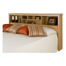 Prepac - Prepac Sonoma Maple King Bookcase Headboard - Add storage space to your bedroom with the king bookcase headboard. Designed to complement any decor, this headboard comes with six storage compartments for your bedside necessities and accessories. The varying compartment sizes add visual appeal and give you display options for large and small items. This free-standing piece is designed to be paired with any standard king bed including our king mate's platform storage bed.